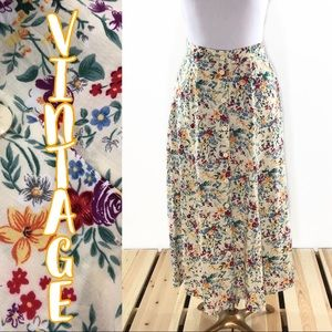 Vintage Bright  Floral Button Front Long Skirt